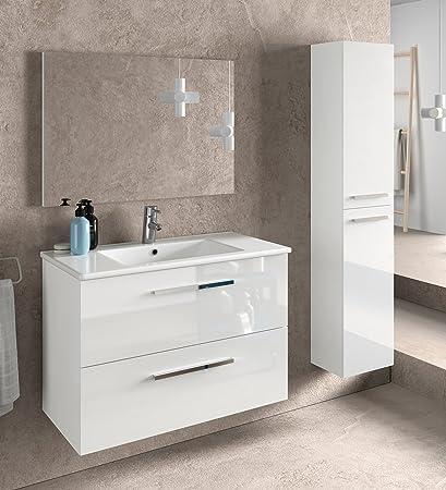5c4b007ef40f Miroytengo Juego de Mueble de baño Lavabo suspendido 2 cajones, Espejo,  lavamanos de cerámica y Columna Auxiliar de Aseo, Acabado en Blanco Brillo