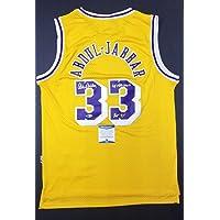 $907 » KAREEM ABDUL-JABBAR Autographed Lakers 6x NBA Champ,HOF. Witness Beckett - Beckett Authentication - Autographed NBA Jerseys