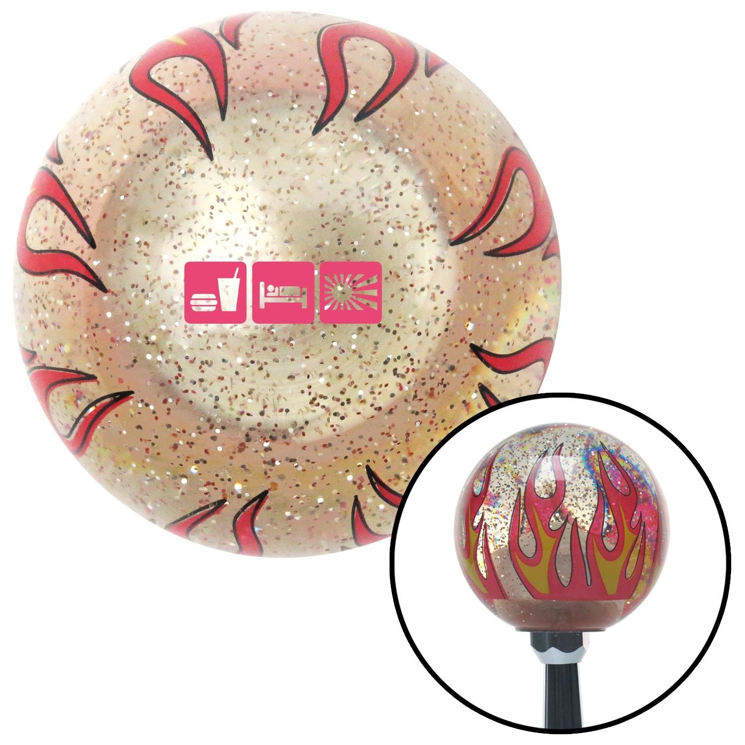 American Shifter 309963 Shift Knob Pink Eat Sleep JDM Clear Flame Metal Flake with M16 x 1.5 Insert