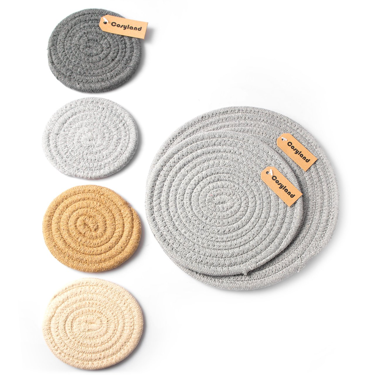 Cosyland Coasters for Drinks 6 Packs Cotton Braided Absorbent Round Placemats Heat Resistant Non Slip for Coffee Mugs Tea Cups Pots