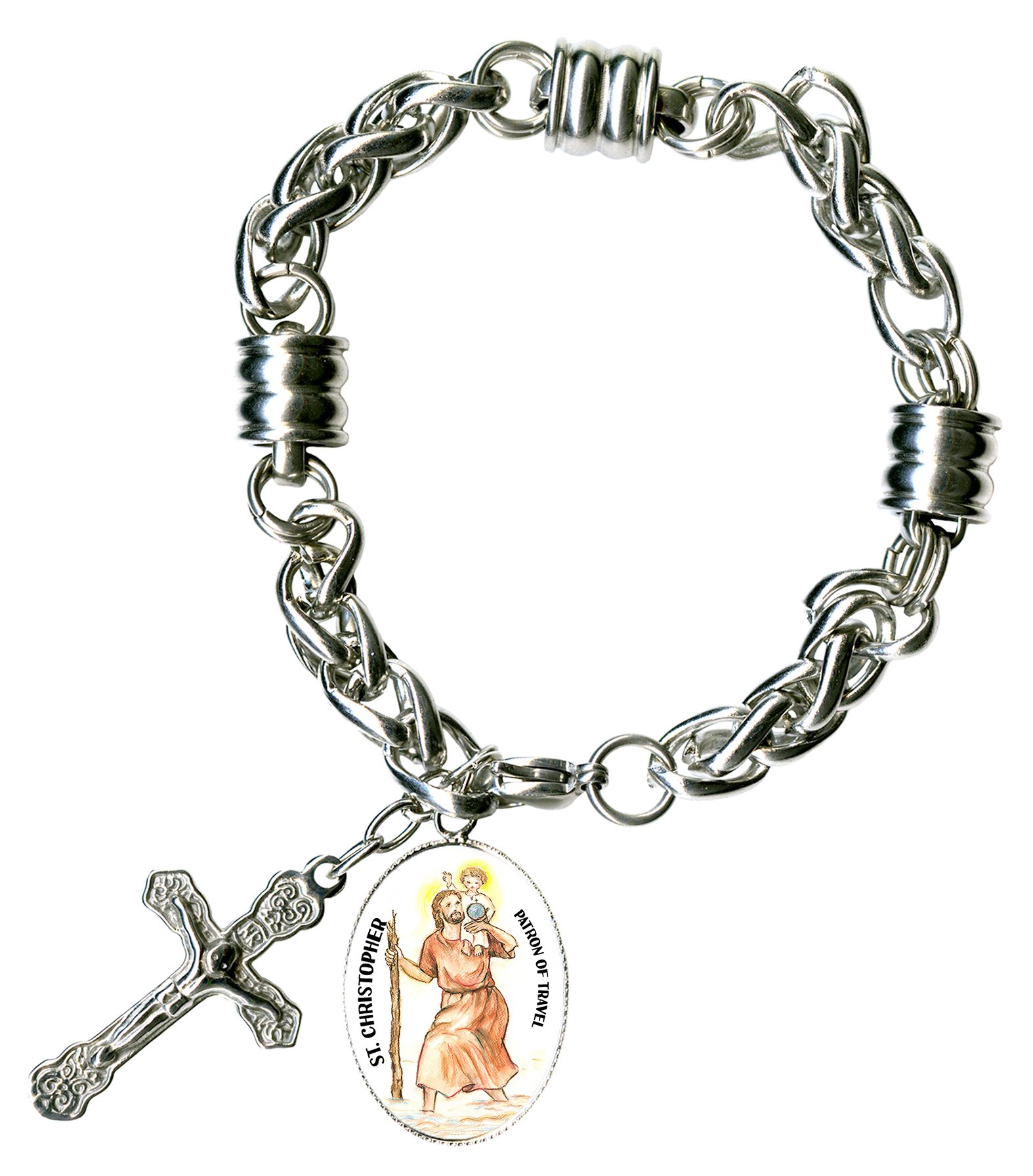 St Christopher Patron of Travel Charm & Cross Stainless Steel 7'' to 8'' Bracelet