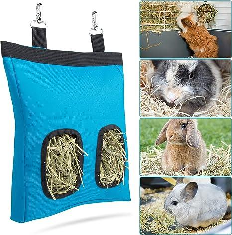 loraleo 2Pcs Rabbit Hay Feeder Bag Guinea Pig Bunny Hay Bag 2 Openings Hay Feeder Hanging Feeding Hay Oxford Cloth Fabric for Small Animals