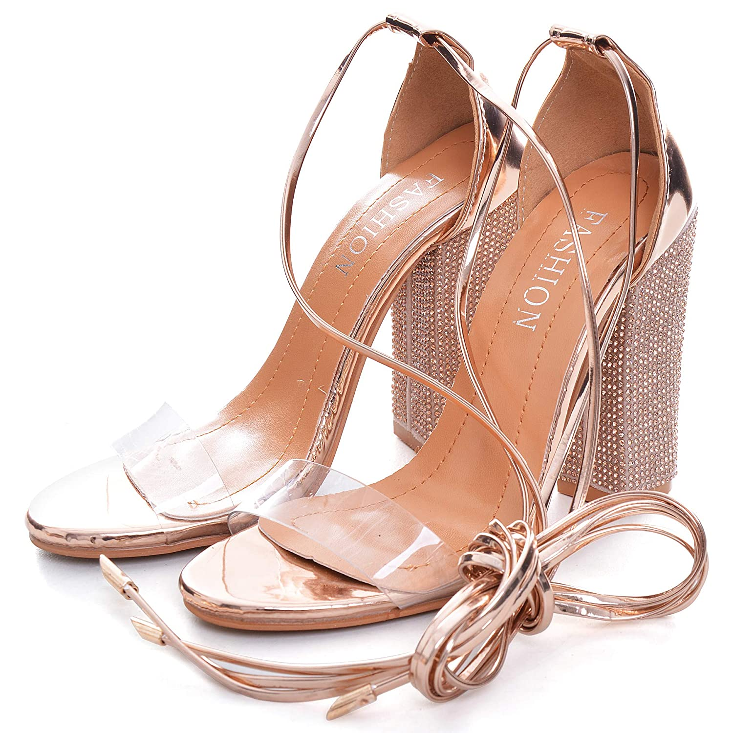 a0ac65045bd Women's Rhinestone Heels Gladiator Lace up High Heels Sandals with Ankle  Strappy Clear Chunky Heels Open Toe Covered Stiletto Dress Party Pumps Shoes