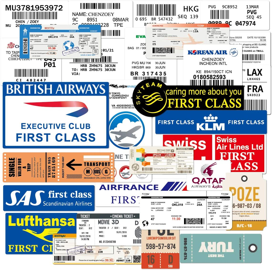 Water Bottle Airline Stickers Boarding Check Air Ticket Stickers Laptop Stickers Pack 30 Pcs Decals for Water Bottle Laptops Ipad Cars Luggages
