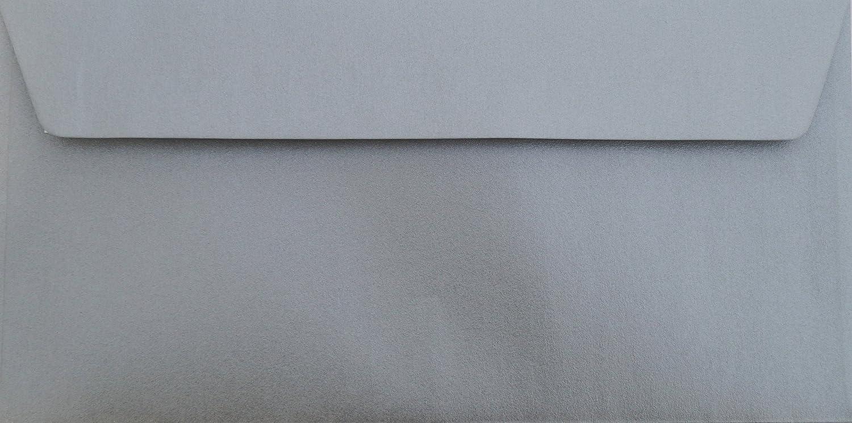 25 Din lang Briefumschl/äge Silber Metallic Din lang 11 x 22 cm mit Haftstreifen Grammatur 90 g//m/²