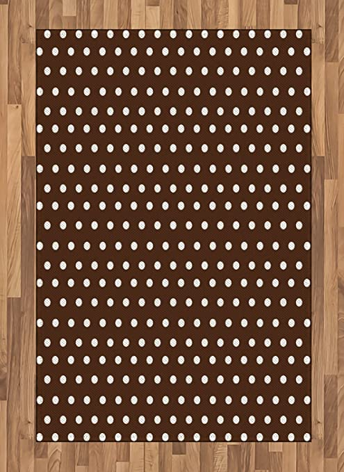 Lunarable Brown Area Rug Nostalgic White Polka Dots On Dark Background Contrast Classic Vintage Elements Flat Woven Accent Rug For Living Room Bedroom Dining Room 4 X 5 7 Dark Brown White