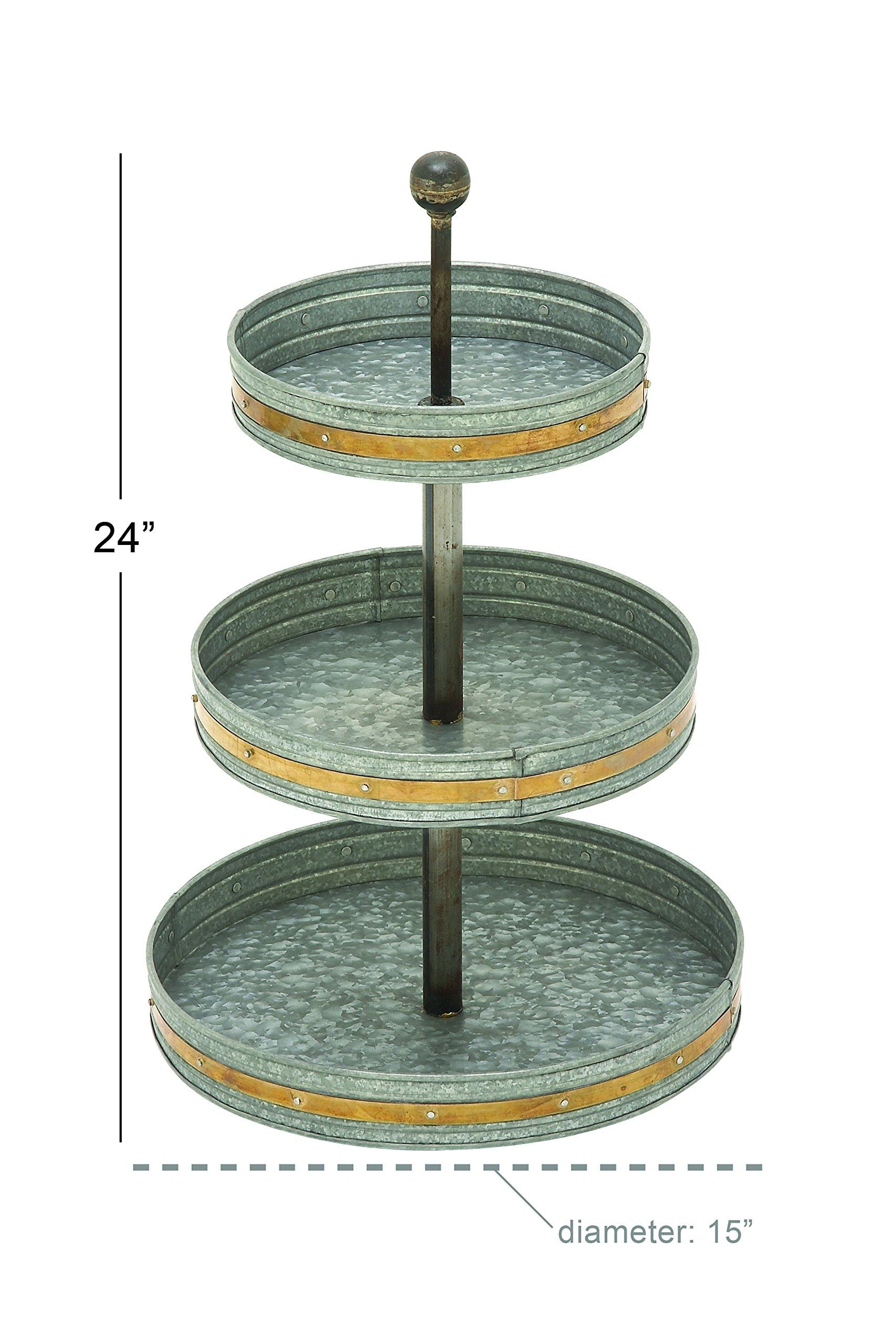 Deco 79 49193 Metal Galvanized 3 Tier Tray, 15'' x 24'' by Deco 79