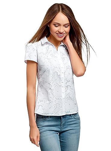 oodji Collection Mujer Blusa Estampada de Tejido Ligero
