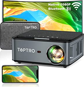 TOPTRO Bluetooth WiFi Projector with Carrying Case,7500lm Native 1080P Portable Projector,Support 4D Keystone/Zoom/4K,Home Theater Projector Compatible with Phone/TV Stick/PC/USB/PS4/DVD
