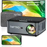 TOPTRO Bluetooth WiFi Projector with Carrying Case,7500L Native 1080P Portable Projector,Support 4D Keystone/Zoom/4K,Home The