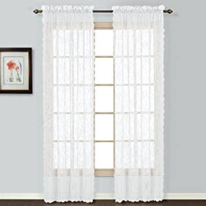 United Curtain Windsor Lace Window Curtain Panel, 56 by 72-Inch, White