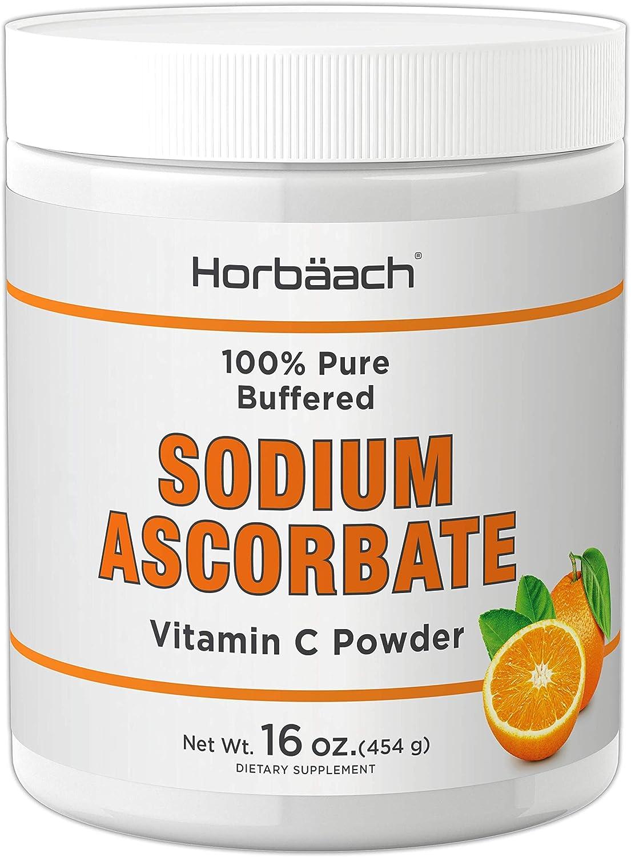Sodium Ascorbate Vitamin C Powder   16oz   Vegetarian, Non-GMO, Gluten Free   100% Pure Buffered   by Horbaach