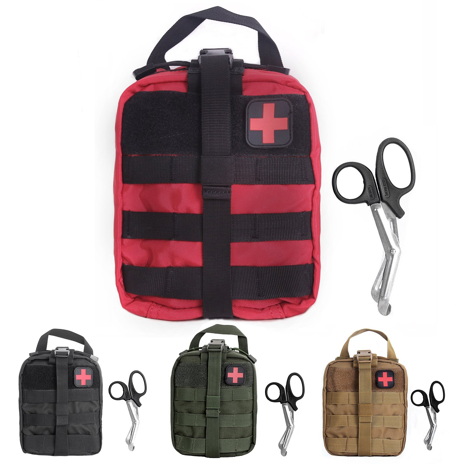 Tactical MOLLE Rip-Away EMT Medical First Aid Utility Pouch (Red with First Aid Patch)