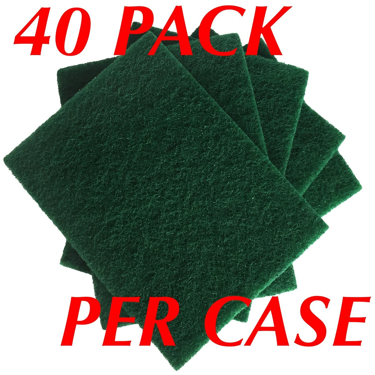 HeRO Dish Scrubber Scouring Pads - Household Scrub Pads for Stove Top Cleaner and Kitchen Scrubbers for Dishes, Cuts Solvents & Greasy Messes, Green 4.5 x 6 inch (Pack of 40)          by HERO IMPORTS (Image #2)