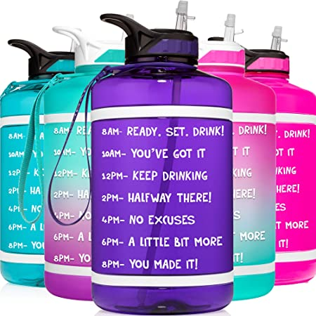 HydroMATE 64 oz Half Gallon Motivational Water Bottle with Straw and Handle with Time Marker Large Reusable BPA Free Jug Times Marked to Drink More Water Daily Hydro MATE 64oz