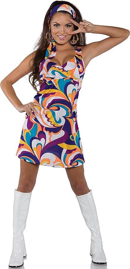 60s Costumes: Hippie, Go Go Dancer, Flower Child, Mod Style Underwraps Costumes Womens Retro Hippie Costume - Peace $28.52 AT vintagedancer.com