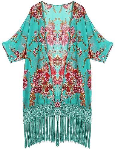 Angerella Sexy See-Through chiffon Beachwear occultamenti Kimono cardigan da Donna