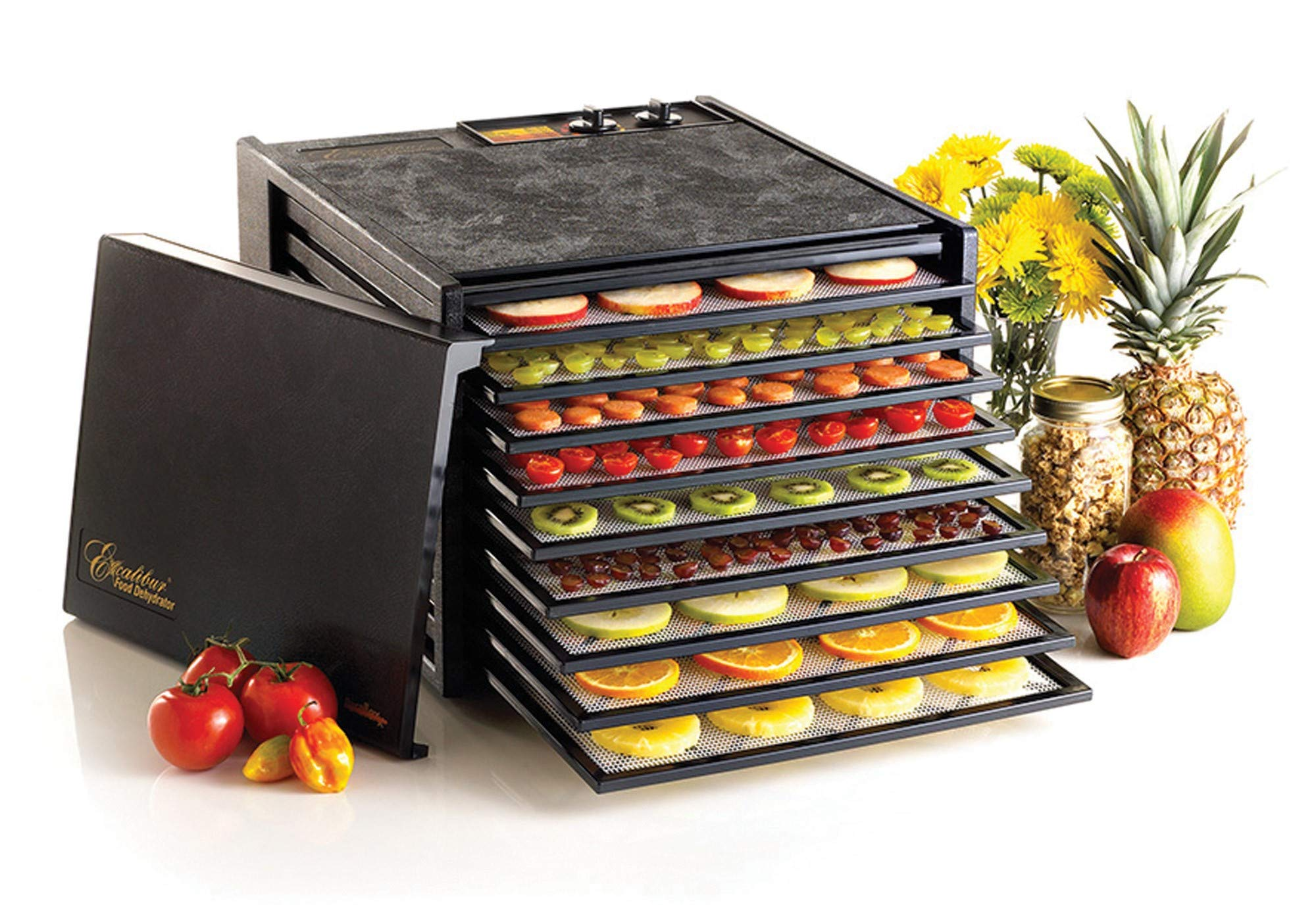 Excalibur 3926TB 9-Tray Electric Food Dehydrator with Temperature Settings and 26-hour Timer Automatic Shut Off for Faster and Efficient Drying Includes Guide to Dehydration Made in USA, 9-Tray, Black by Excalibur