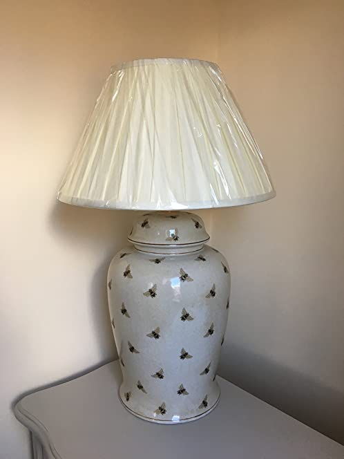INDIA JANE Ceramic Bee Lamp Base with FREE Cream Pleated Shade ...