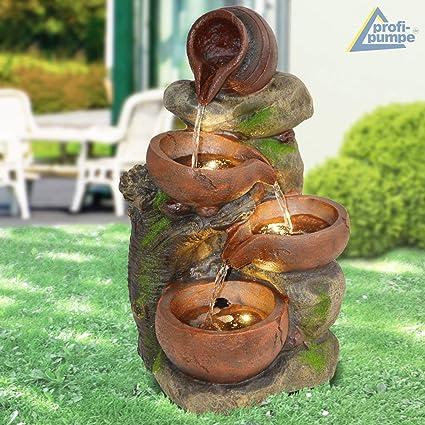 Amur Gartenbrunnen Brunnen Zierbrunnen Zimmerbrunnen Brunnen 4 Tonkrüge Im Baumfels Mit Led Licht 230v Wasserfall Wasserspiel Für Garten Gartenteich
