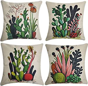 UnionKK 4 PCS Cactus Decorative Throw Pillow Covers Plant Flower Decor Square Cushion Cover Linen Outdoor Balcony Pillows Case for Sofa Living Room and Bed 18x18 Inches (Cactus-1)