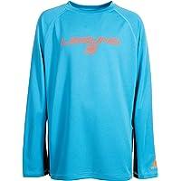 LAGUNA Boys Crewneck Long Sleeve Loose Fit Rashguard Swim Sun Tee Shirt, UPF 50+