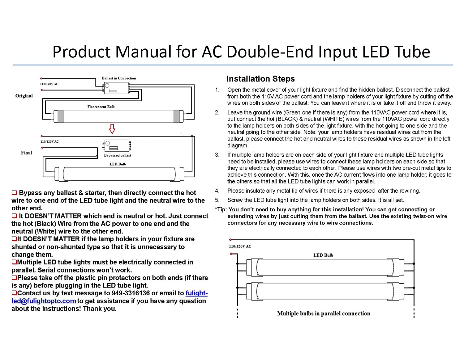 Fulight Rotatable Led F15t8 Tube Light 18 17 3 4 Actual Length Bulb Circuit Diagram In Addition Replacing Old Double 15ft 7w 15w Equivalent Daylight 6000k End Powered Frosted Cover