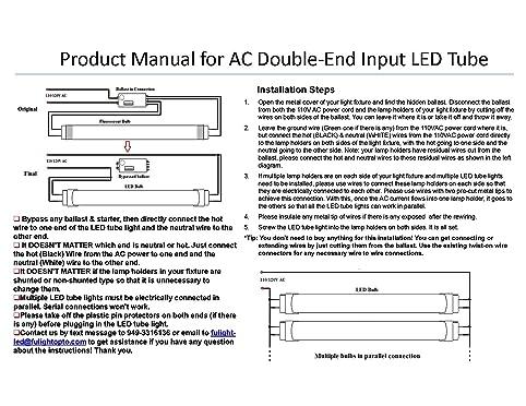 Fulight Easy-Installing T8 LED Tube Light, 24-Inch 10-Watt 6000K ...