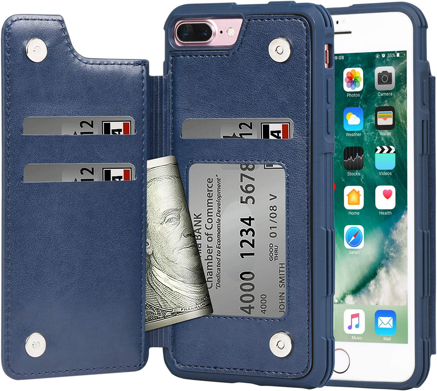 Arae Case for iPhone 7 Plus/iPhone 8 Plus - Wallet Case with PU Leather Card Pockets [Shockproof] Back Flip Cover for iPhone 7 Plus / 8 Plus 5.5 inch (Blue)