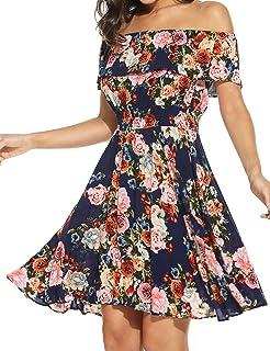 911edab0e7fd ELESOL Womens Flower Print Dress Off Shoulder Ruffle A line Beach Dress