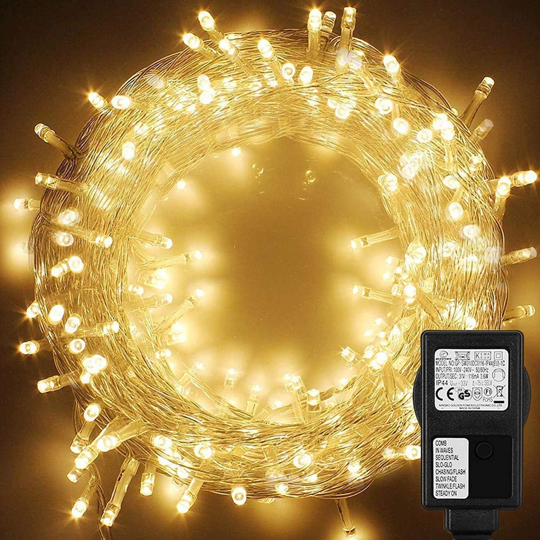 WOWDSGN Guirnarldas Luces Enchufe 25M 200 LED blanco cálido,8 modos de luz regulables,IP44 a prueba de agua,cadena de luz para fiestas,celebraciones,iluminación navideña para interiores y exteriores