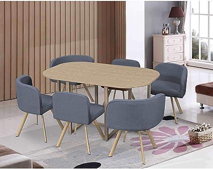 ensemble table 6 chaises encastrables grises mosaic xl