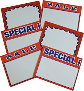 "2.75"" X3.5"" Sign Card Set, Blank, Special and Sale (3 packs, 100 each pack)"