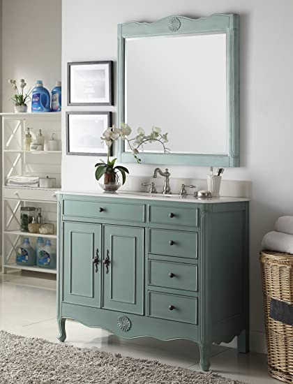 Benton Collection 38u0026quot; Distressed Vintage Blue Daleville Bathroom Sink  Vanity W/Matching Mirror HF