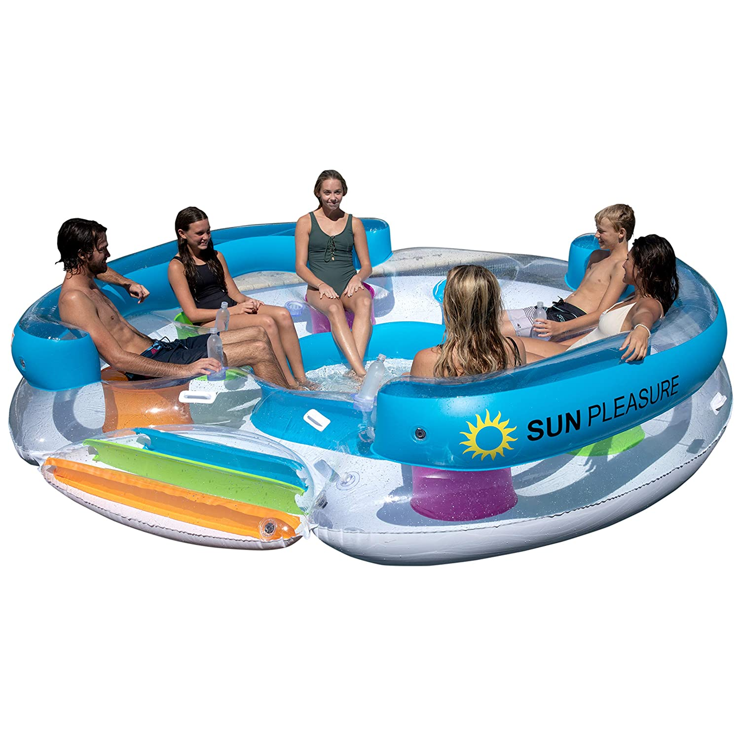 Sun Pleasure Tropical Tahiti Floating Island, Giant Float and Carrying Bag -...