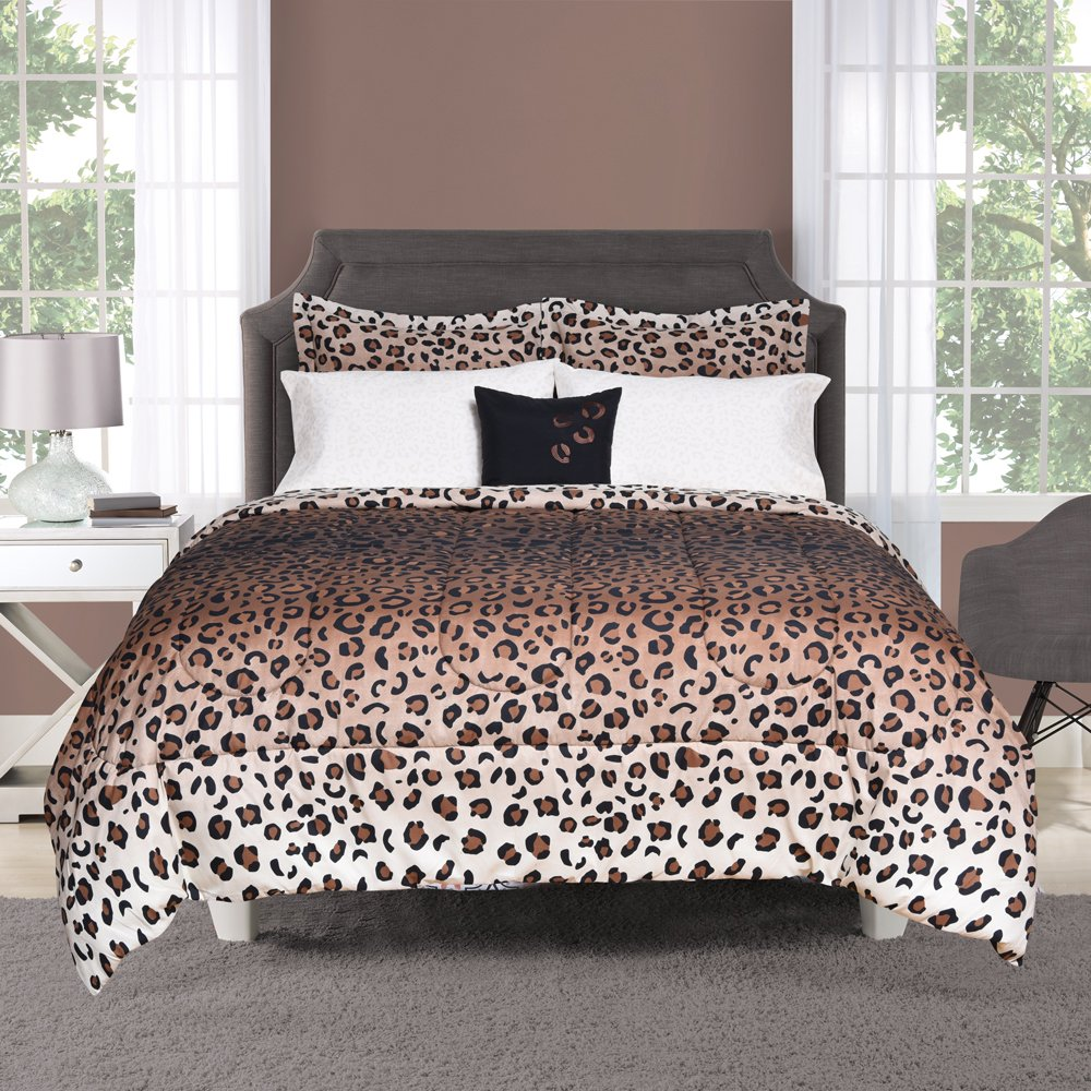 Beco Home Bedding Collection: 8 Piece Bed-in-a-Bag Comforter Set, Maya (Leopard Print), Full