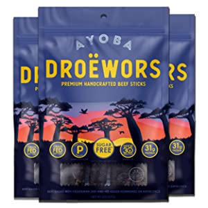 Ayoba Droewors Beef Sticks - Grass Fed, Keto and Paleo Certified Air-Dried Sausages - Whole 30 Approved, No Sugar, Gluten Free, No Nitrates - Healthy and Natural Snacks (3 Pack, 2 Ounce)