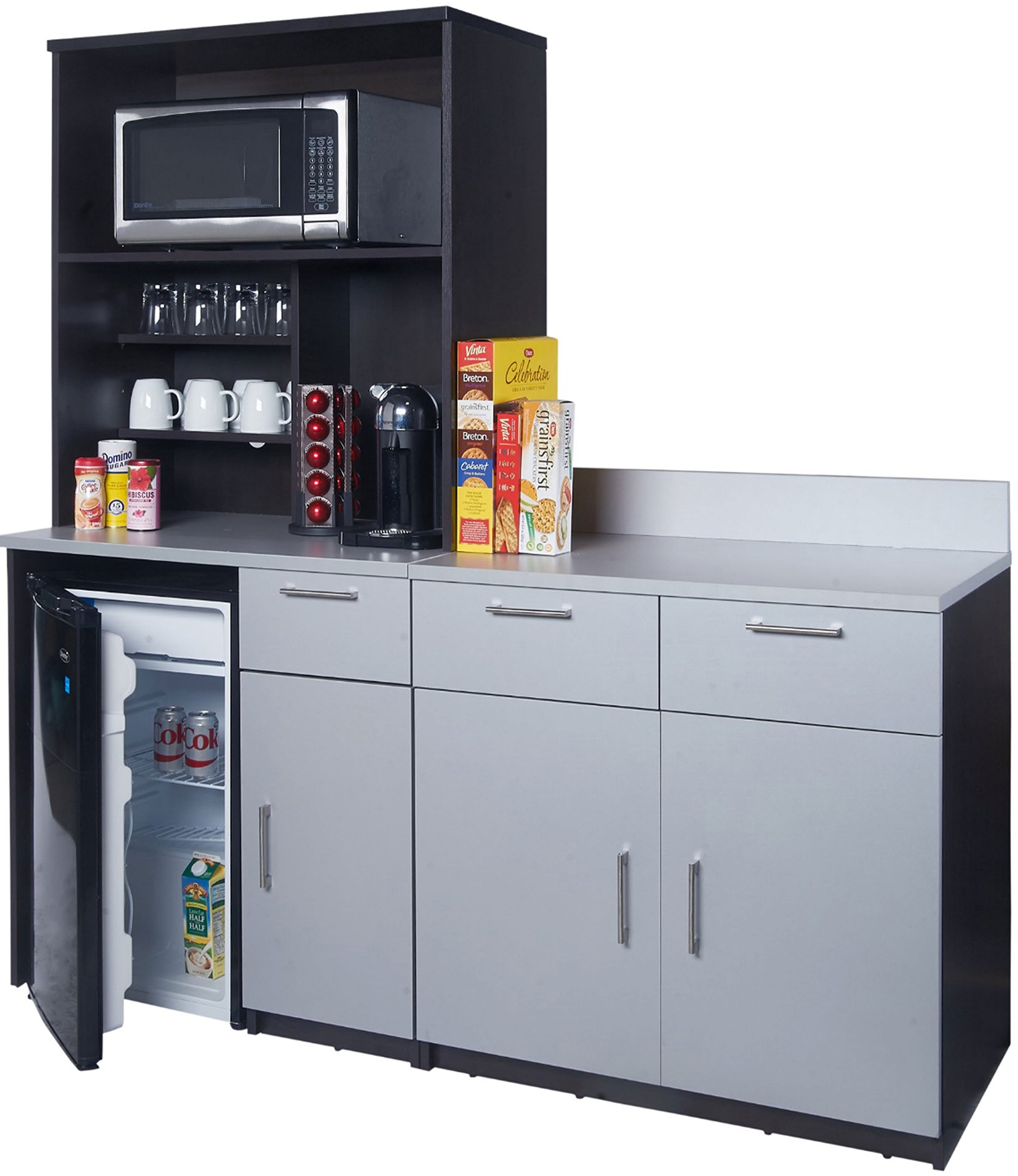 Coffee Kitchen Lunch Break Room Cabinets Model 4257 BREAKTIME 3 Piece Group Color Espresso/Silver Metalic - Factory Assembled (NOT RTA) Furniture Items ONLY. by Breaktime (Image #1)