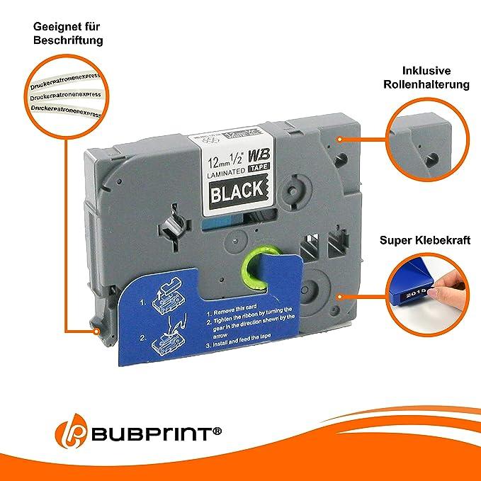 Bubprint 2 Schriftb/änder kompatibel f/ür Brother TZE-521 TZE521 f/ür P-Touch 1280 2430PC 2730VP 3600 9500PC 9700PC D400VP D600VP H100LB H105 P700 P750W