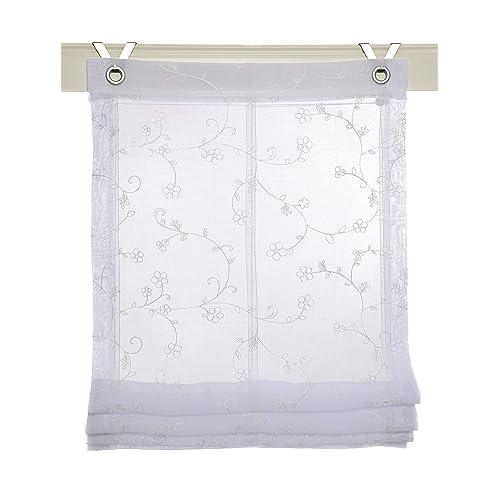Estor plegable Liv blanco con ojales y ganchos, 60 * 140 cm