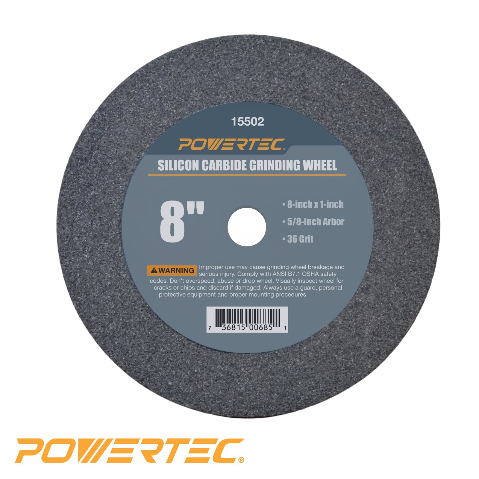 POWERTEC 15502 5/8'' Arbor 36-Grit Silicon Carbide Grinding Wheel, 8'' by 1''