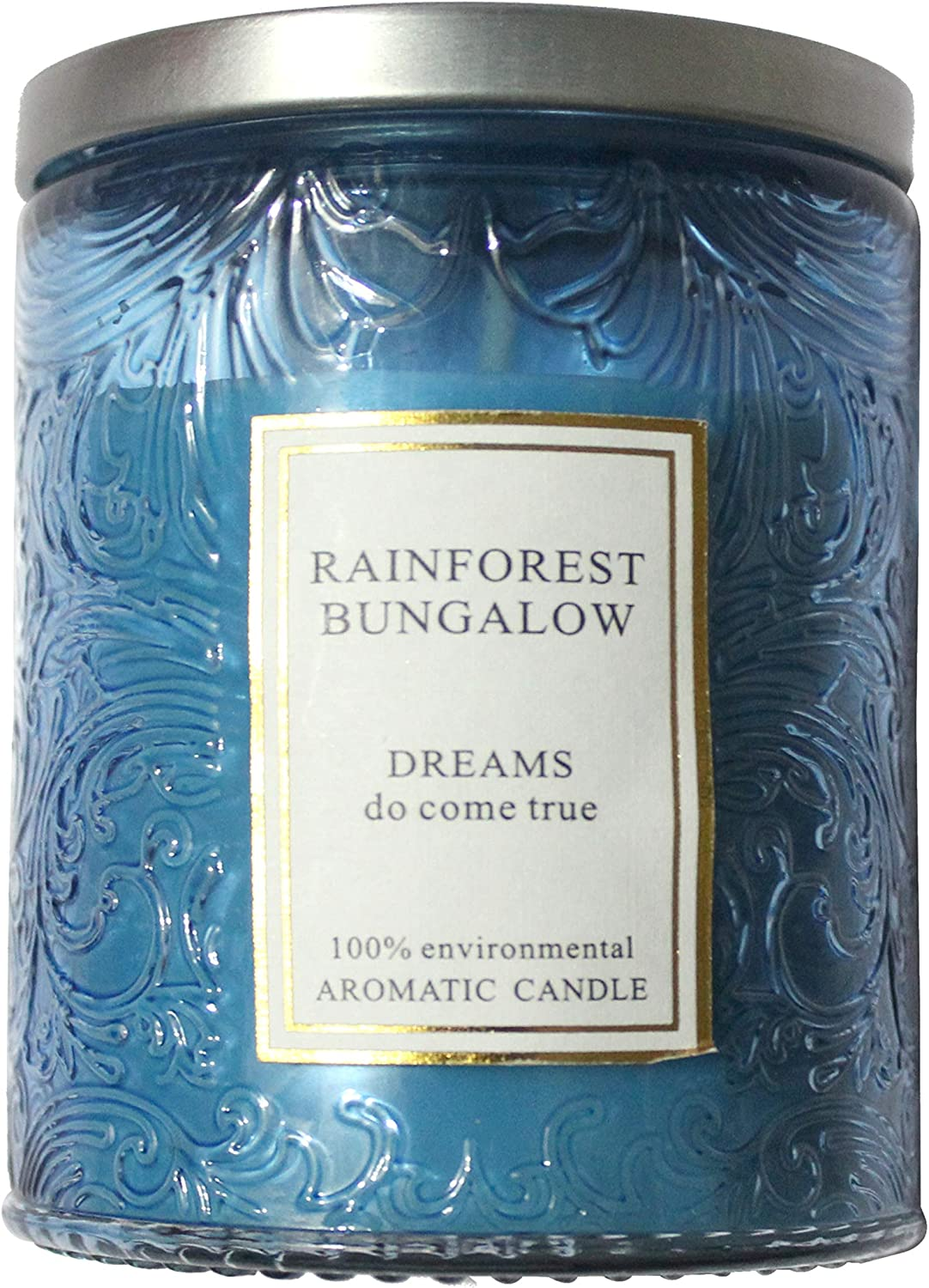 Lonovel Embossed Glass Jar Candles,Aromatherapy Scented Candles Phoenix Tail Design,Natural Soy Wax Candle Rainforest Fragrances,Home Decor,Gifts,Romantic Candle,Blue