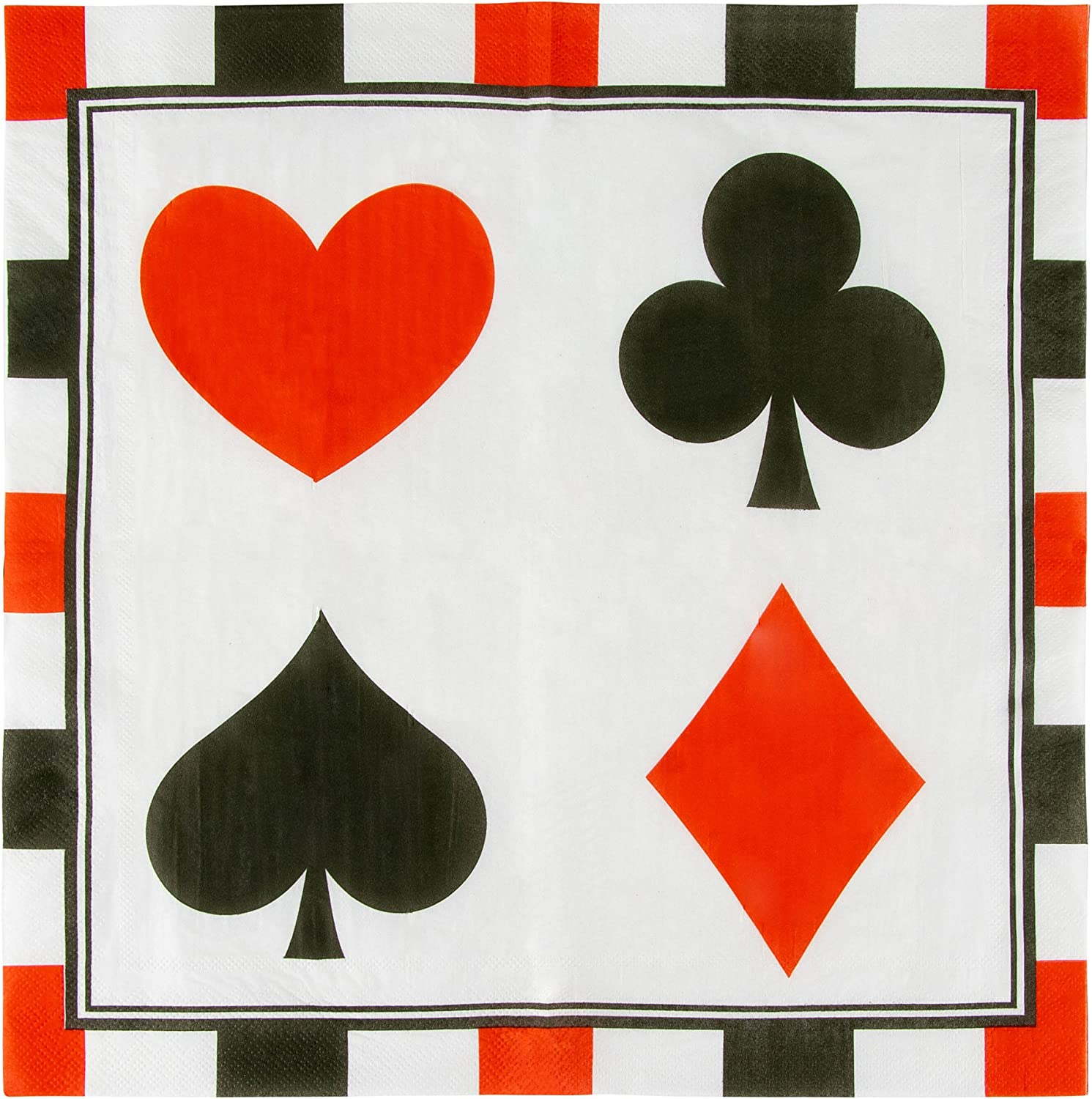 Paper Napkins in Poker Design for Casino Party Supplies (6.5 x 6.5 in, 150 Pack)