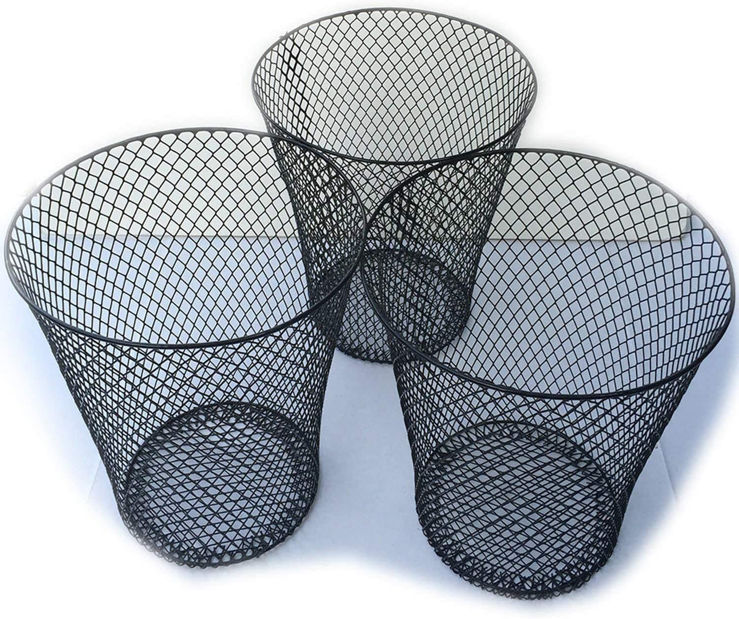 ESSENTIALS Wire Mesh Round Waste Basket | Trash Can Mesh Round Open Top Wastebasket | Recycling Bins Garbage Waste Baskets | Wire Mesh Desk Trash Can | 3-Pack Office Trash Cans (Black)