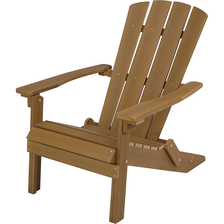 Amazon.com : Folding Composite Adirondack Chair - Brown : Garden ...