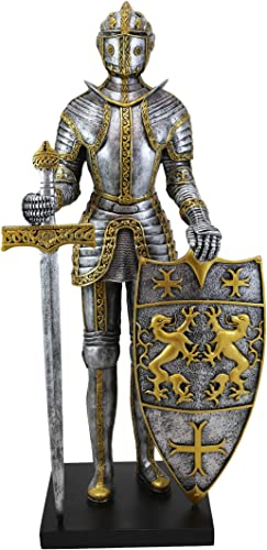 Ebros 21 Tall Large Medieval Royal Knight Guard with Long Sword and Dragon Lion Heraldry Shield Statue Castle Suit of Armor Resin Figurine European Historical Home Decor
