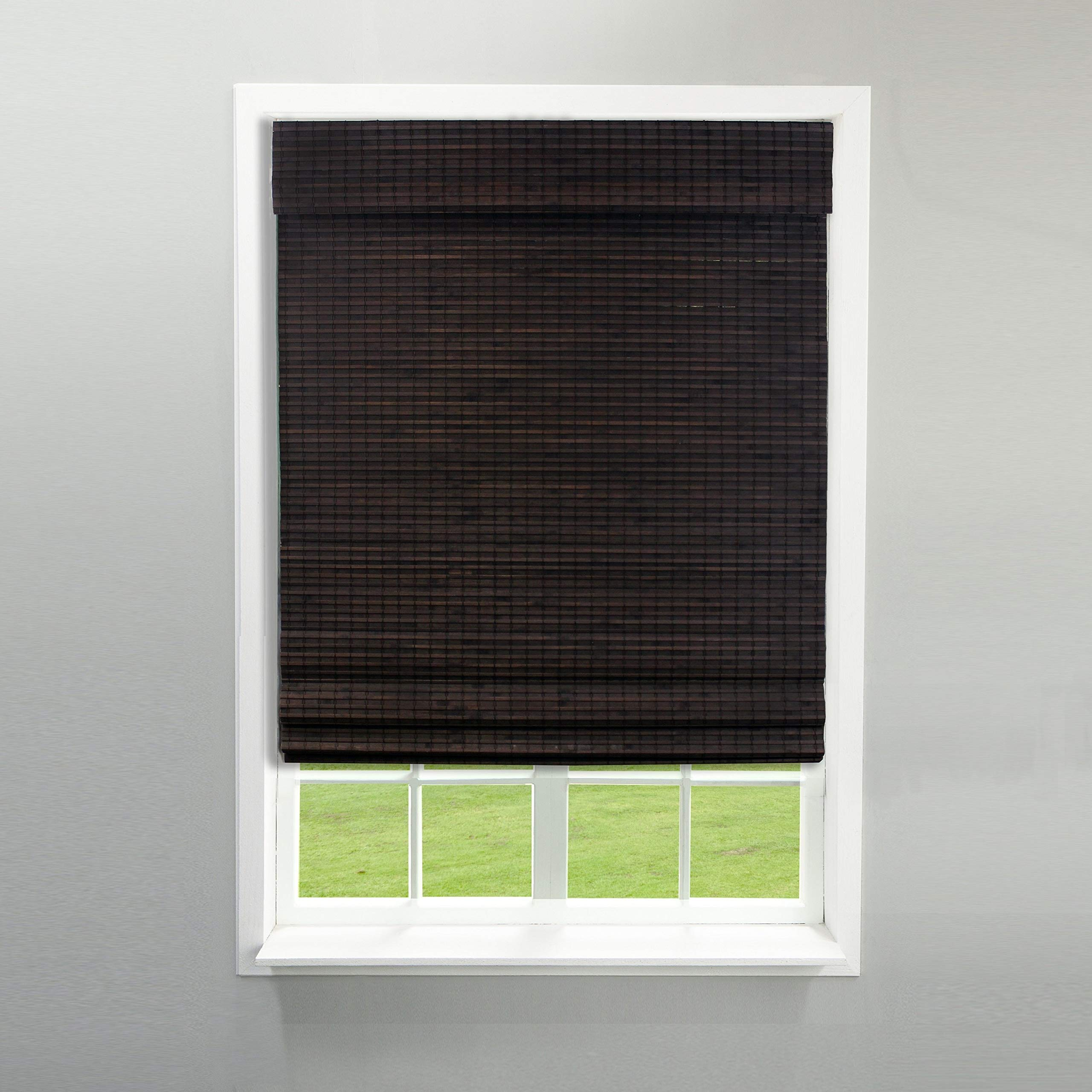 MISC 25.5 X 64 Espresso Brown Bamboo Cordless Roman Shade Flatstick Natural Wood Pull Down Blinds Rustic Light Filtering Privacy Weave Window Shades, 5ft 4in Long by MISC
