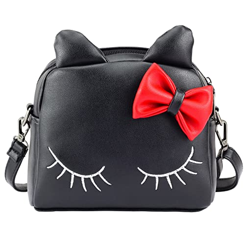 CMK Trendy Kids Cute Little Girls Cat Purse for Toddler Kids Mini Backpack Bags with Bows (82003_Black)
