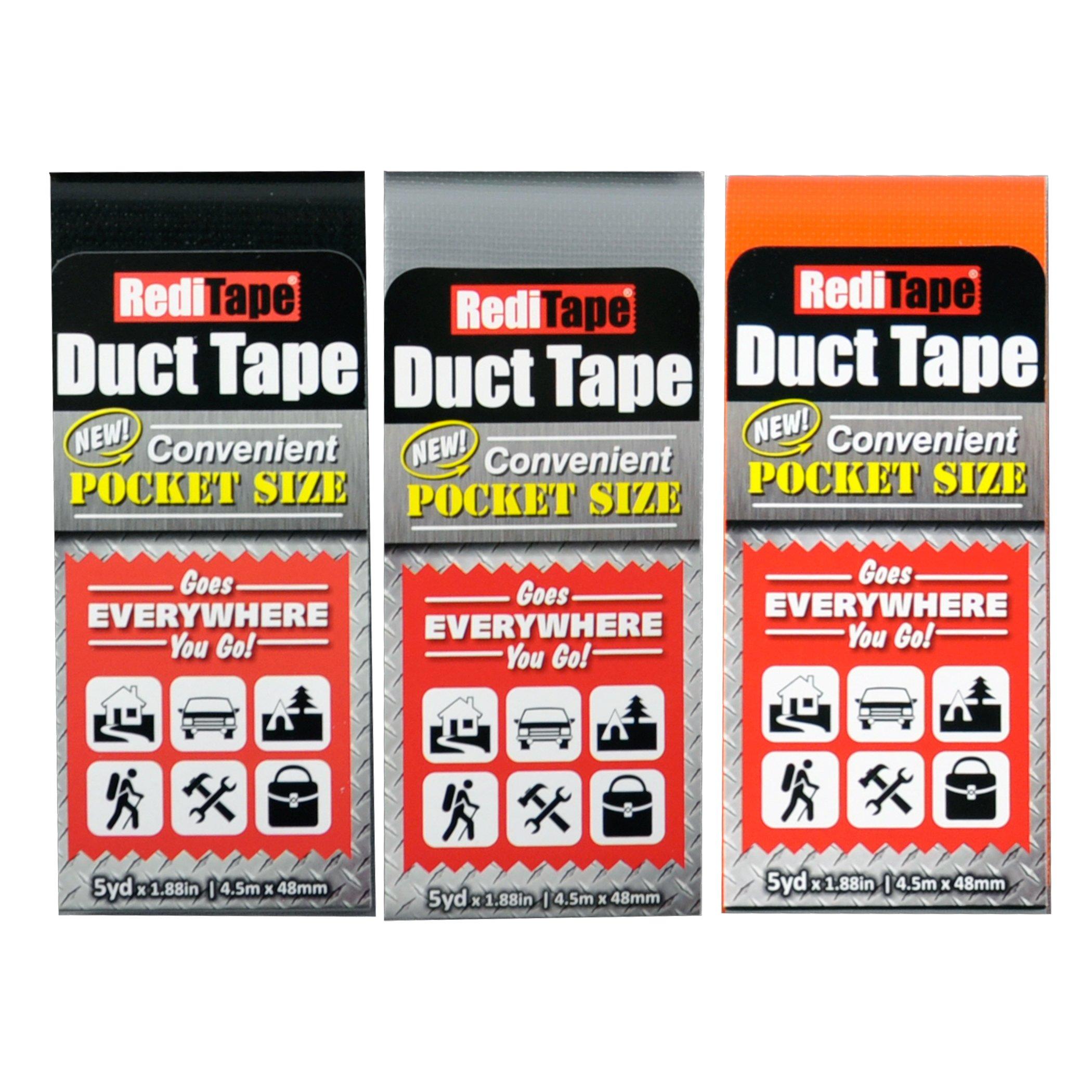 RediTape 10932 Duct Tape, 3-Pack, Black, Silver, Orange-10932