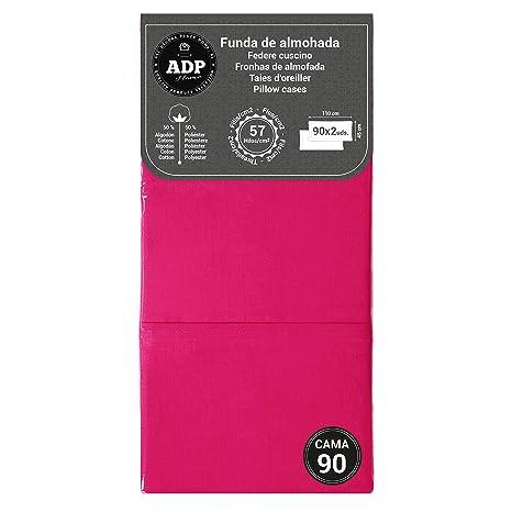 ADP Home - Funda de almohada lisa 144 hilos (pack de 2 ud. De 90 cm), fucsia